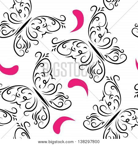 Decorative seamless pattern with butterflies and petals