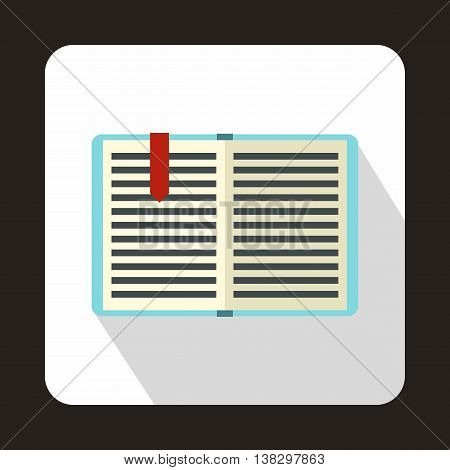 Open book with red bookmark icon in flat style on a white background