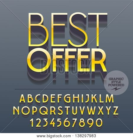 Set of slim reflective metallic alphabet letters, numbers and punctuation symbols. Vector yellow logotype with text Best offer. File contains graphic styles
