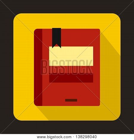 Red closed book icon in flat style on a yellow background