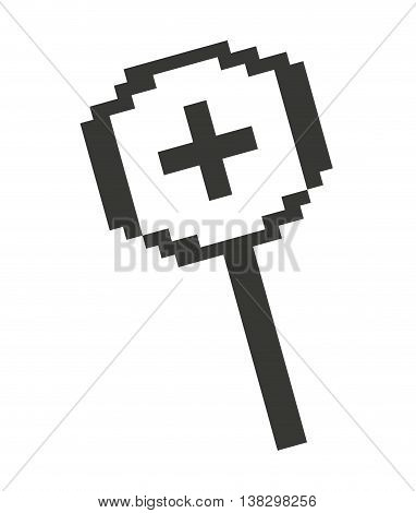 Computer mouse magnifying glass pointer isolated icon design, vector illustration  graphic