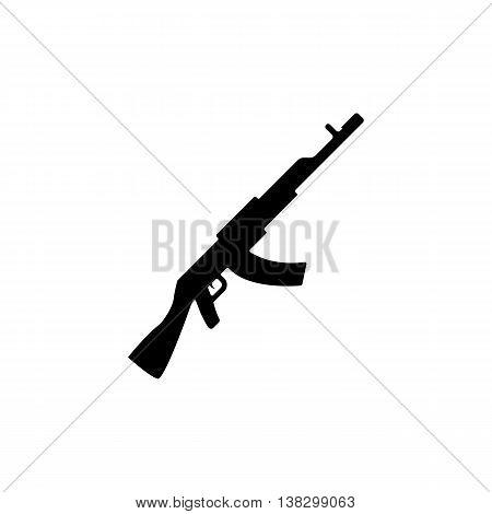 Machine gun icon. Silhouette flat design vector illustration