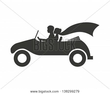 Married couple in car isolated icon design, vector illustration  graphic