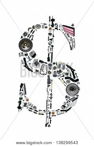 Dollar moneysign with auto parts for car. Spare parts for car for shop, aftermarket OEM. Dollar icon. Many auto parts isolated in money dollar