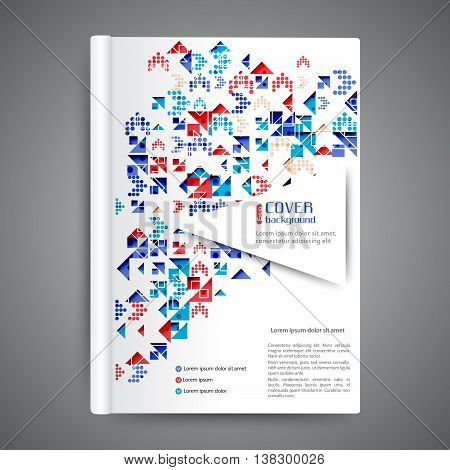 Color book design template. Annual report design. Cover design with geometric elements