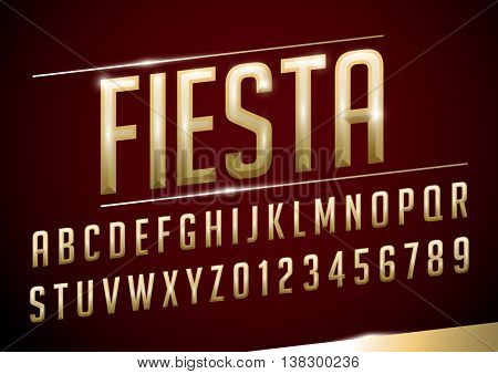 Vector of stylized metallic font and alphabet