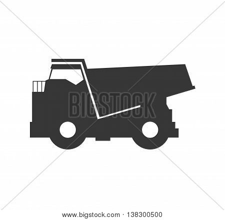 Transportation concept represented by dump truck silhouette icon. Isolated and flat illustration