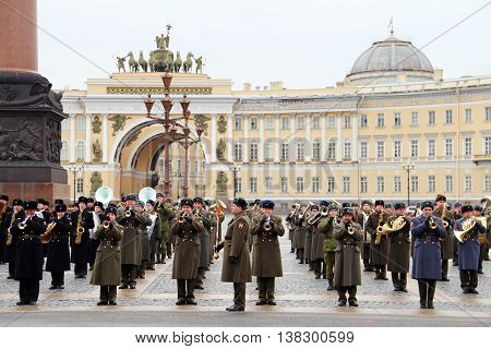 Saint Petersburg Russia - April 2014: Russian orchestra military parade rehearsal