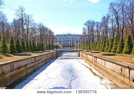 Saint Petersburg Russia - April 2014: The Palace Saint in Saint Petersburg Russia in late winter with some left ice