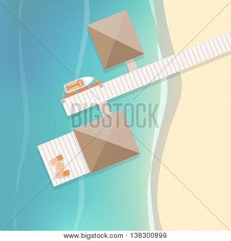 Top view tropical beach with white wooden pier and two bungalows