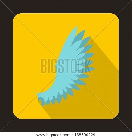 Light blue wing icon in flat style on a yellow background