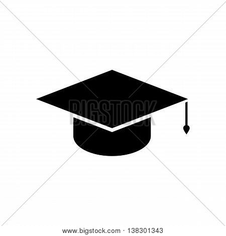 Graduation cap icon. Silhouette flat design vector illustration