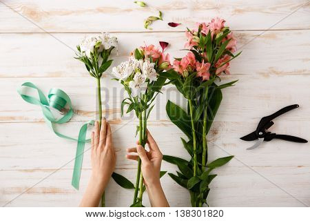 Bright colorful alstroemerias and green ribbon in hands, on wood table. From above.