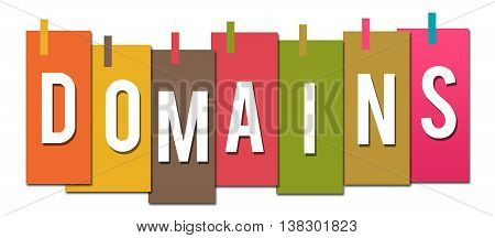 Domains text alphabets written over colorful background.