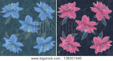 Flower sketch bouquet hand drawing seamless pattern