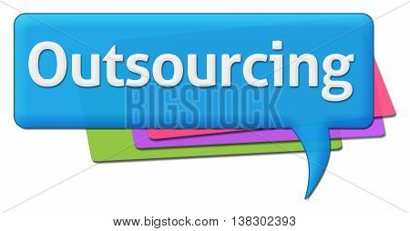 Outsourcing text written over blue colorful background.