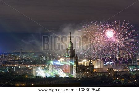 M. V. Lomonosov Moscow State University fireworks on the day of the city