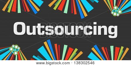 Outsourcing text written over dark colorful background.