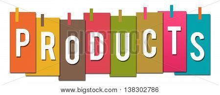 Products text alphabets written over colorful background.