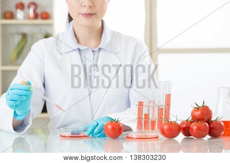 Asian Female Scientist Doing Tomato Genetic Modification Research