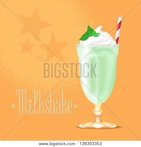 Milkshake vector illustration design element. Isolated cartoon glass and straw with green milk shake and ice cream