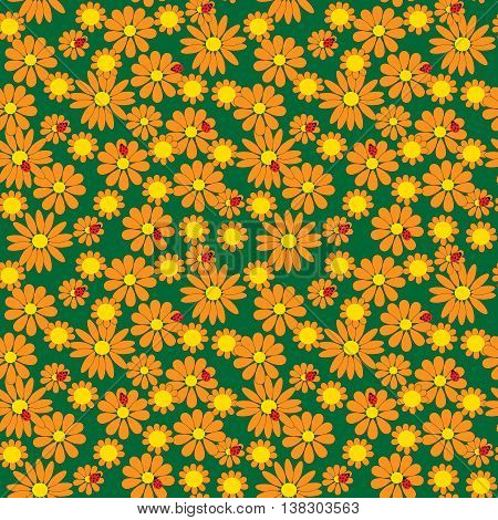 Seamless pattern of a flowers and ladybirds