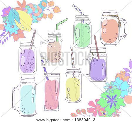 Jars for smoothies and lemonades. Citrus and floral borders. Scandinavian style set. Used elements included.