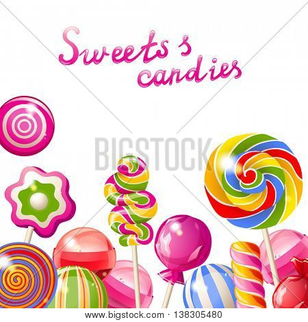 Background with bright colorful lollipops