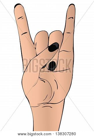 Rock-n-roll  hand gesture. Punk rock style template for slogan, poster, flyers ,   banner and etc. Vector illustration on white background. The vertical arrangement.