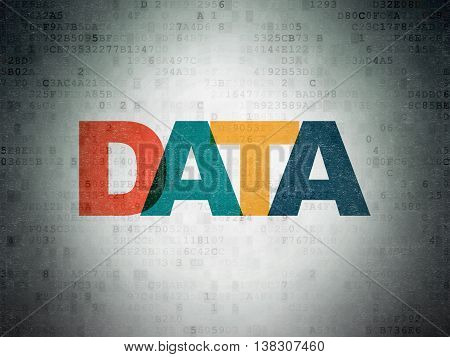 Information concept: Painted multicolor text Data on Digital Data Paper background