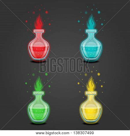 Bottle with liquid. Magic Elixir. Game design illustration.