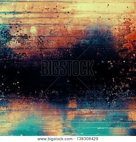 Beautiful retro background, nice looking ancient texture with different color patterns: yellow (beige); black; blue; cyan; red (orange); pink
