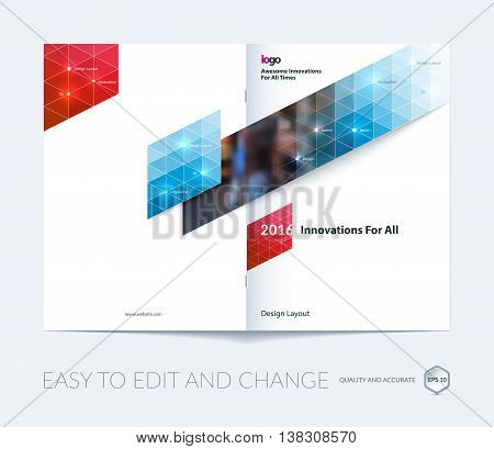 Brochure template layout, cover design annual report, magazine, flyer, leaflet in A4 with blue triangles for business, technology and science with overlay transparency effect. Vector.