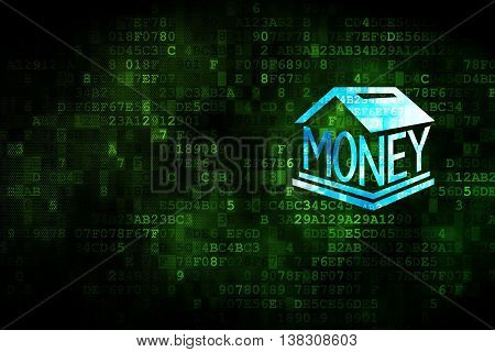 Money concept: pixelated Money Box icon on digital background, empty copyspace for card, text, advertising