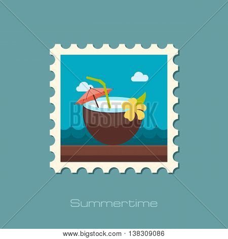 Coconut Drink with Straw vector stamp. Beach. Summer. Summertime. Holiday. Vacation eps 10