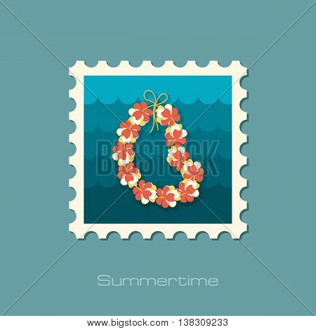 Hawaii flowers necklace wreath stamp. Beach. Summer. Summertime. Holiday. Vacation eps 10