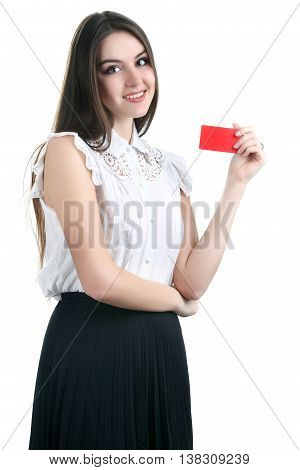 Close-up portrait of young smiling business woman holding credit