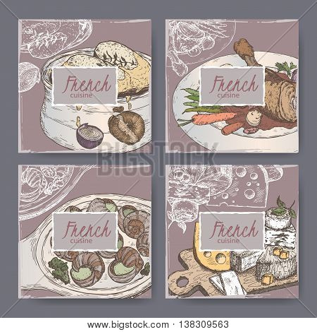 Set of four French cuisine banner templates. Includes color hand drawn sketch of onion soup, coq au vin, cheese plate, escargots. Great for restaurants, cafes, recipe and travel books.