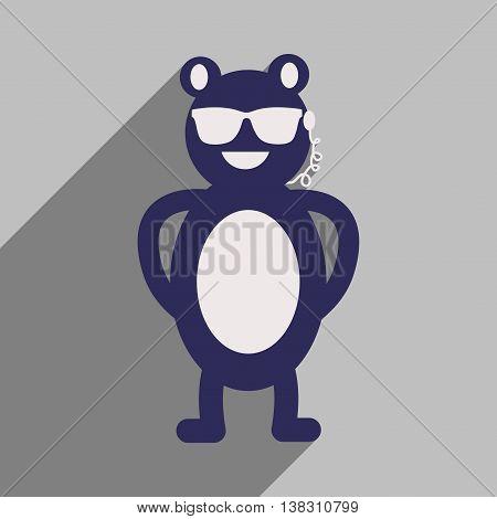 flat icon with long shadow bear cartoon