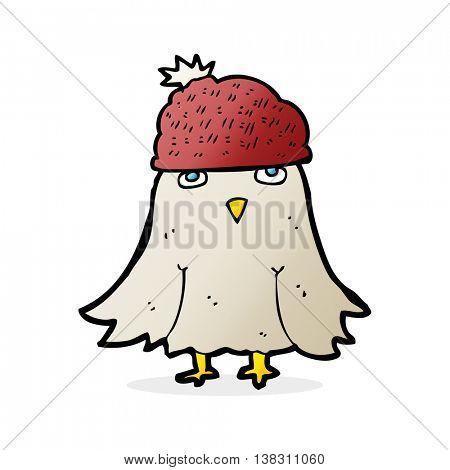 cartoon bird wearing a winter hat