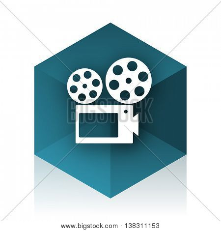 movie blue cube icon, modern design web element