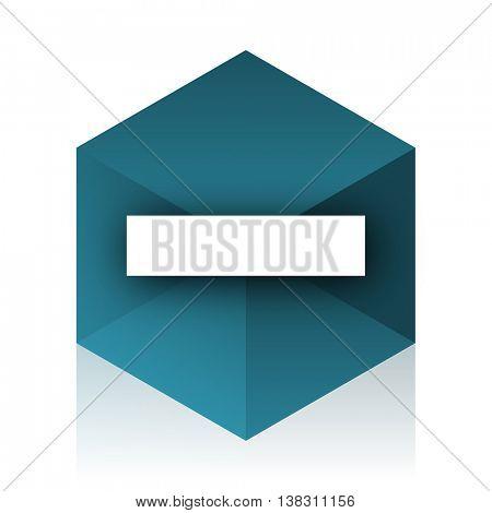 minus blue cube icon, modern design web element