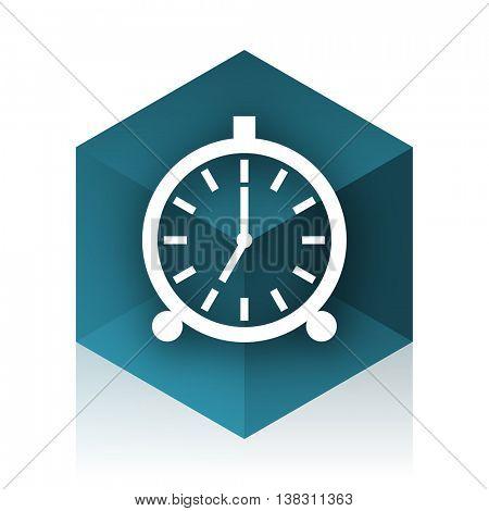 alarm blue cube icon, modern design web element