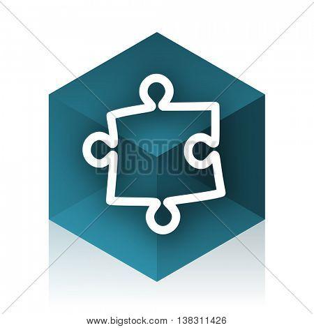 puzzle blue cube icon, modern design web element