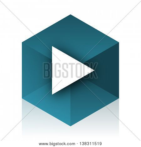 play blue cube icon, modern design web element