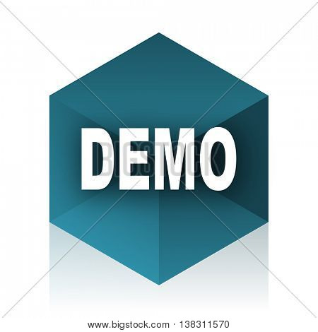 demo blue cube icon, modern design web element