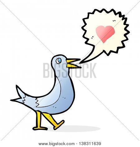 cartoon bird with love heart singing