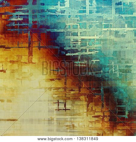 Art grunge texture for creative design or scrap-book. With vintage style decor and different color patterns: yellow (beige); brown; gray; blue; cyan; red (orange)