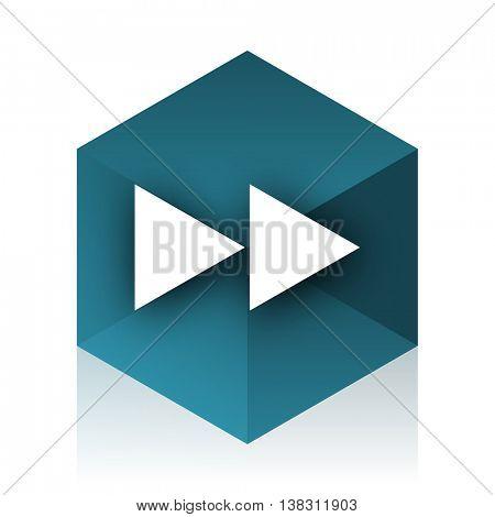 rewind blue cube icon, modern design web element