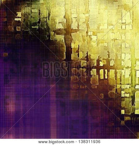 Grunge texture, aged or old style background with retro design elements and different color patterns: yellow (beige); brown; black; blue; purple (violet); pink